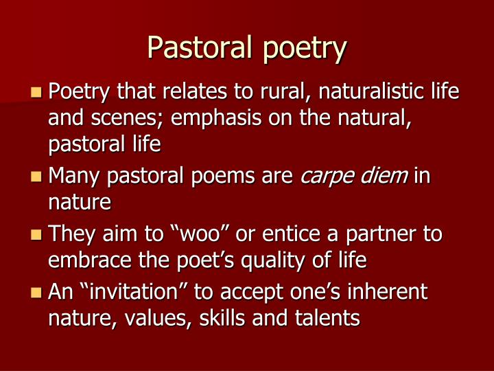 How to write pastoral poetry