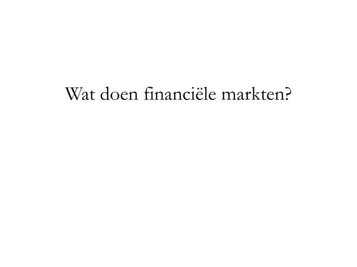 Wat doen financi