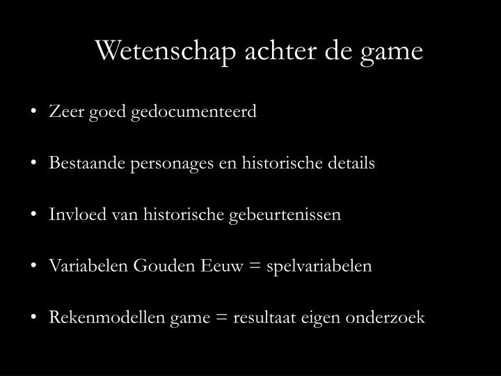 Wetenschap achter de game