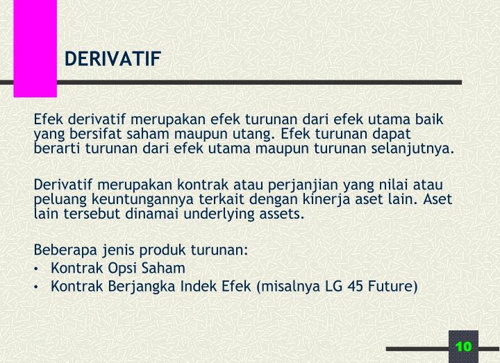 Efek derivatif merupakan efek turunan dari efek utama baik yang bersifat saham maupun utang. Efek turunan dapat berarti turunan dari efek utama maupun turunan selanjutnya.