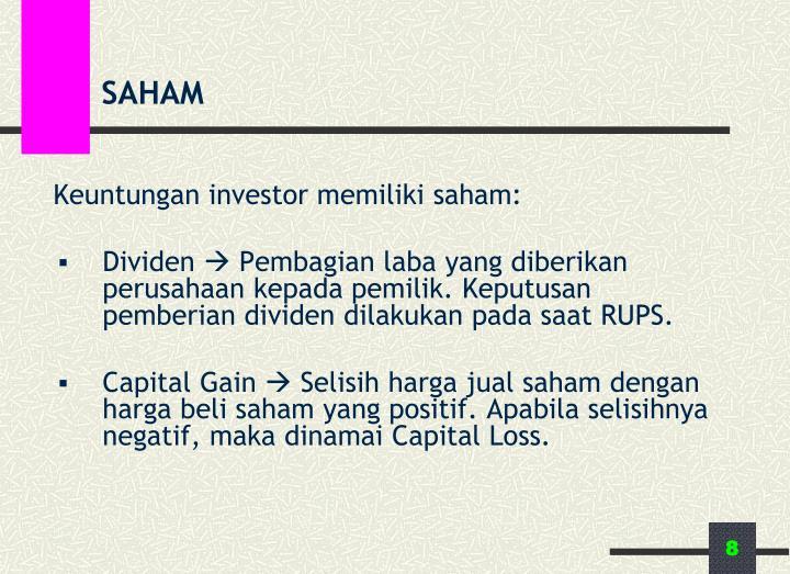 Keuntungan investor memiliki saham: