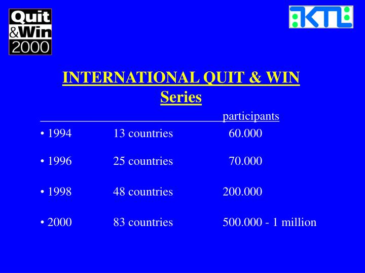INTERNATIONAL QUIT & WIN