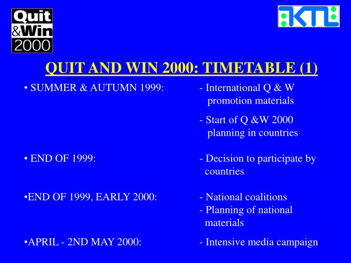QUIT AND WIN 2000: TIMETABLE (1)