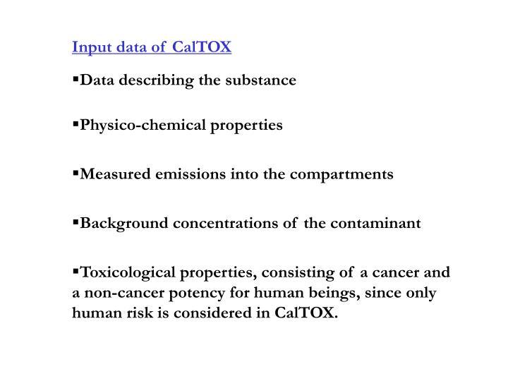 Input data of CalTOX