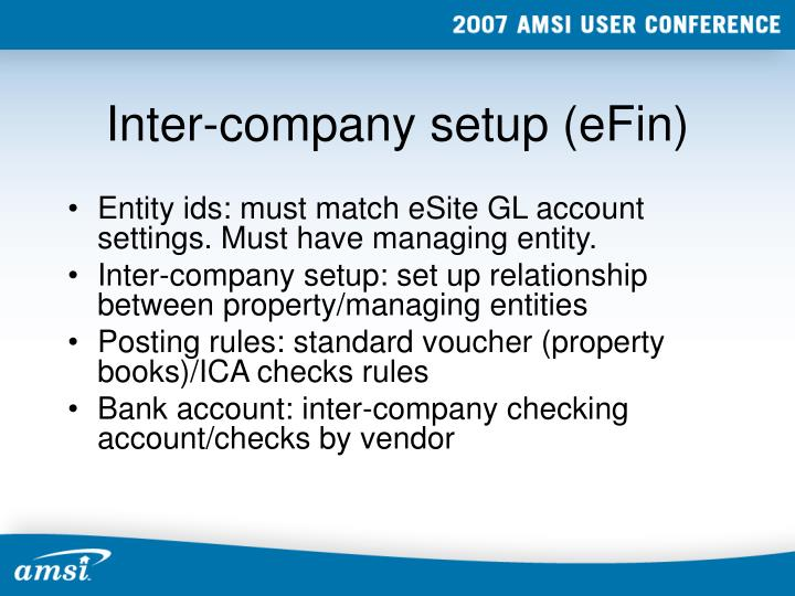 Inter-company setup (eFin)