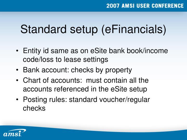 Standard setup (eFinancials)