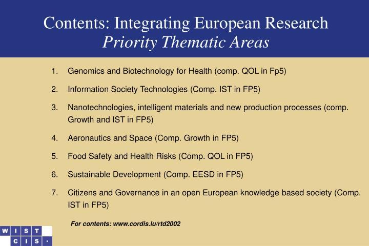 Contents: Integrating Euro
