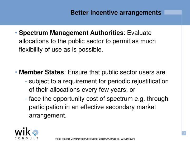 Better incentive arrangements
