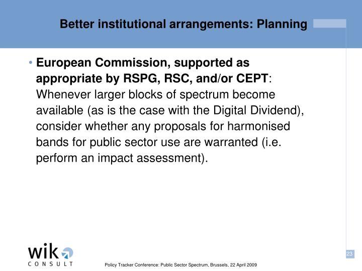 Better institutional arrangements: Planning