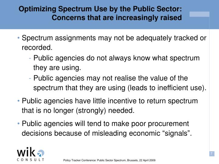 Optimizing Spectrum Use by the Public Sector: