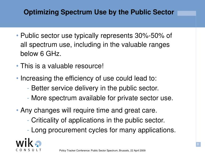 Optimizing Spectrum Use by the Public Sector