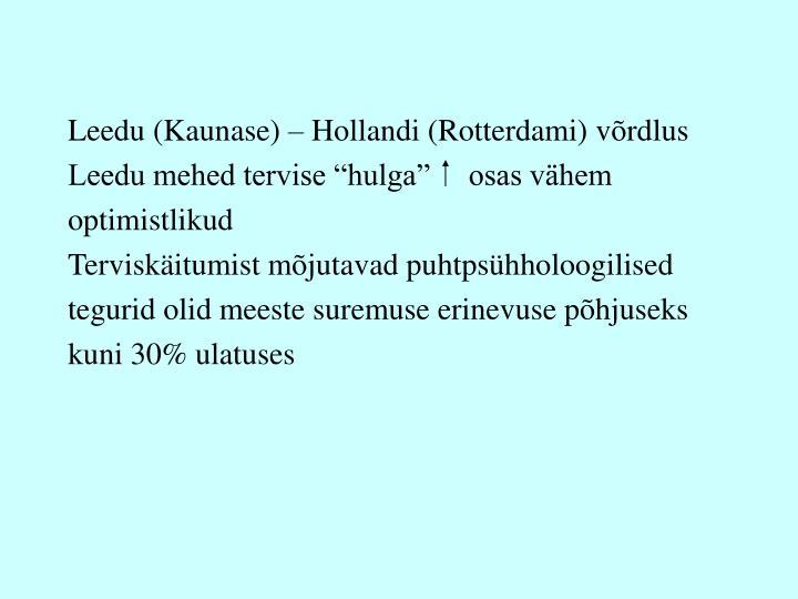 Leedu (Kaunase) – Hollandi (Rotterdami) võrdlus