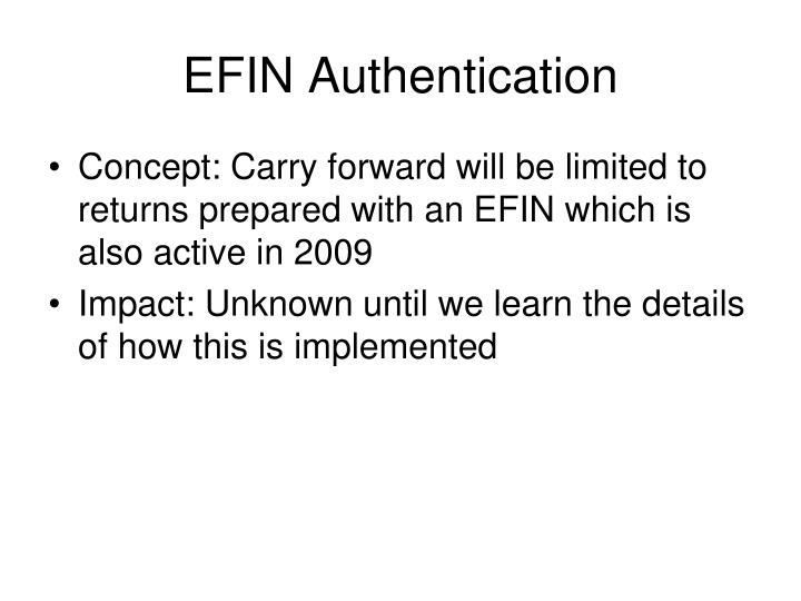 EFIN Authentication