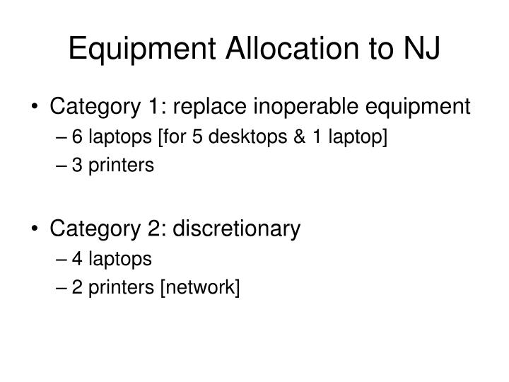 Equipment Allocation to NJ
