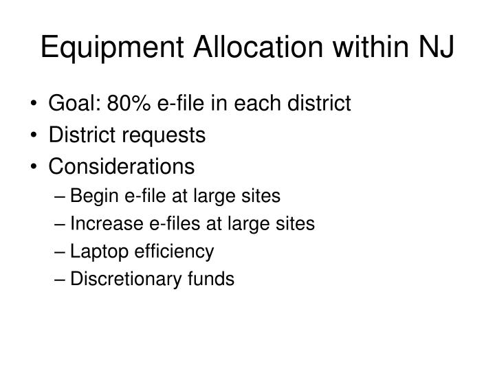 Equipment Allocation within NJ