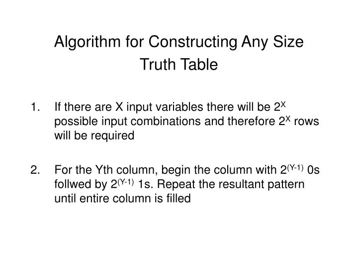 Algorithm for Constructing Any Size