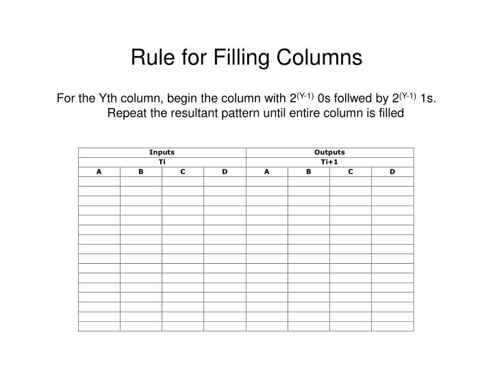 Rule for Filling Columns