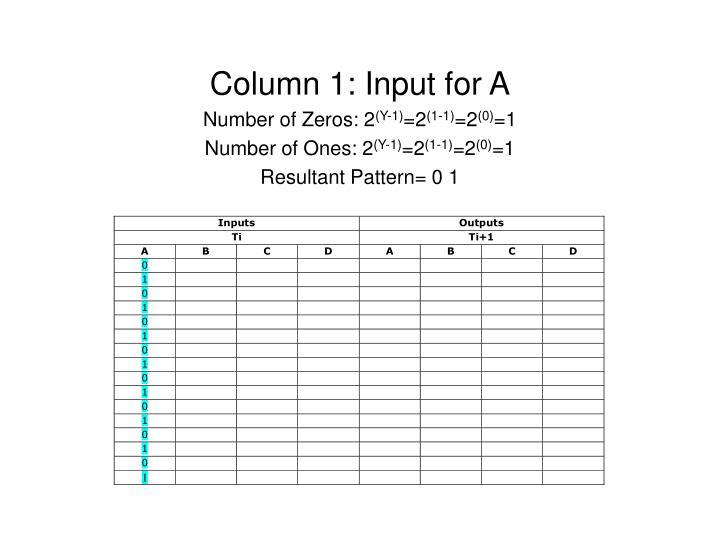 Column 1: Input for A