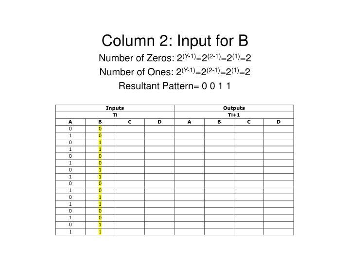 Column 2: Input for B