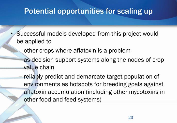 Potential opportunities for scaling up
