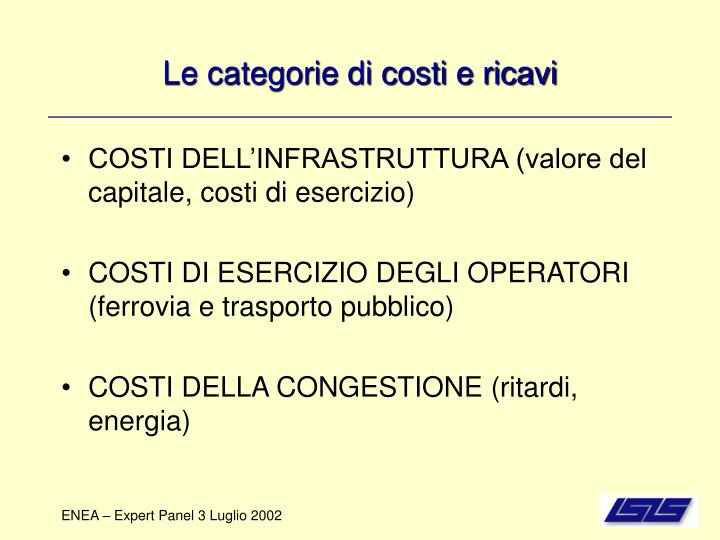 Le categorie di costi e ricavi
