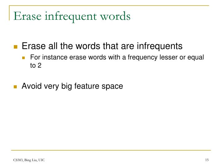 Erase infrequent words
