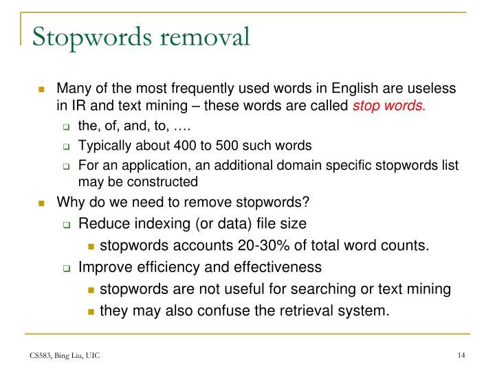Stopwords removal