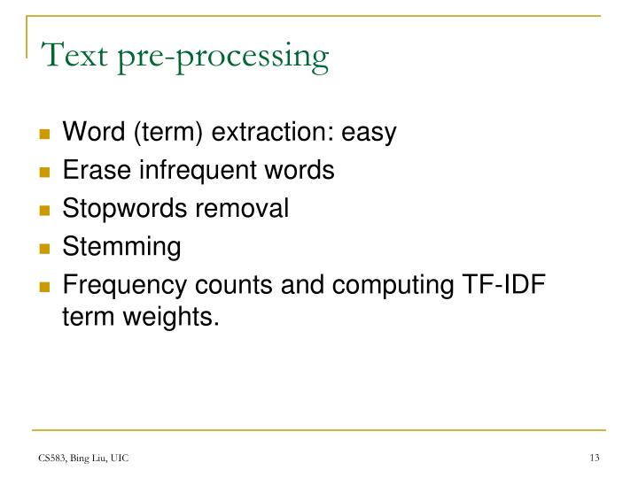 Text pre-processing