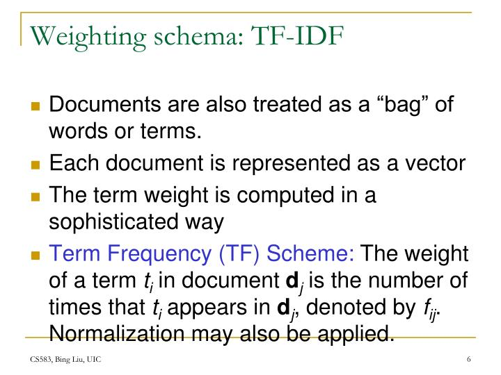 Weighting schema: TF-IDF