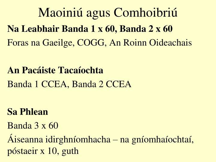 Maoiniú agus Comhoibriú