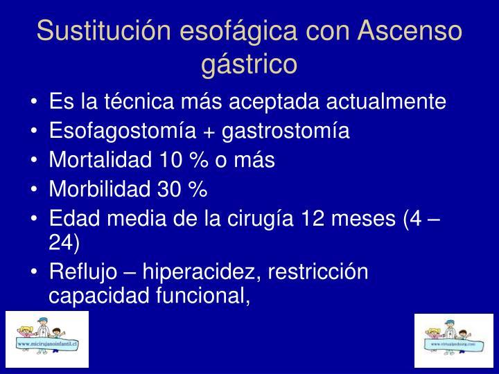 Sustitución esofágica con Ascenso gástrico