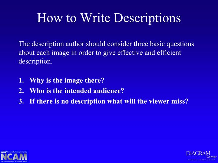 How to Write Descriptions