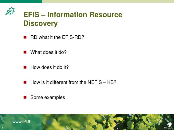 Efis information resource discovery