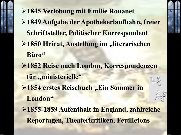 1845 Verlobung mit Emilie Rouanet