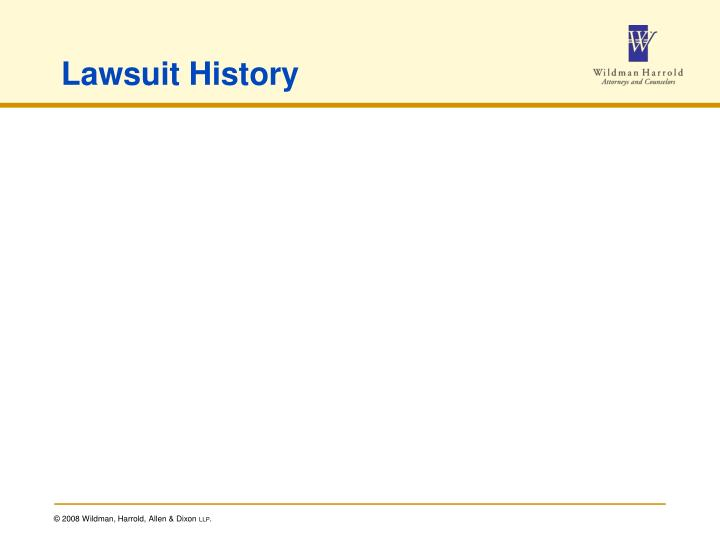 Lawsuit History