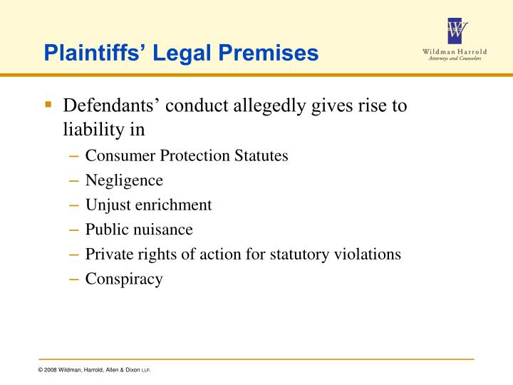 Plaintiffs' Legal Premises