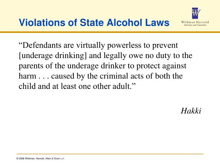 Violations of State Alcohol Laws