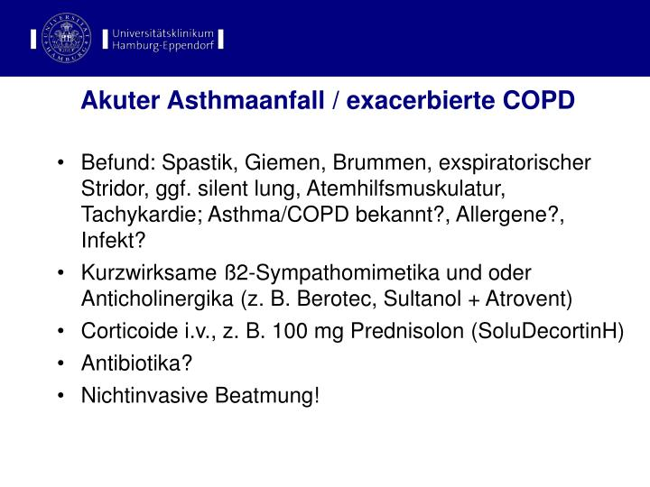 Akuter Asthmaanfall / exacerbierte COPD