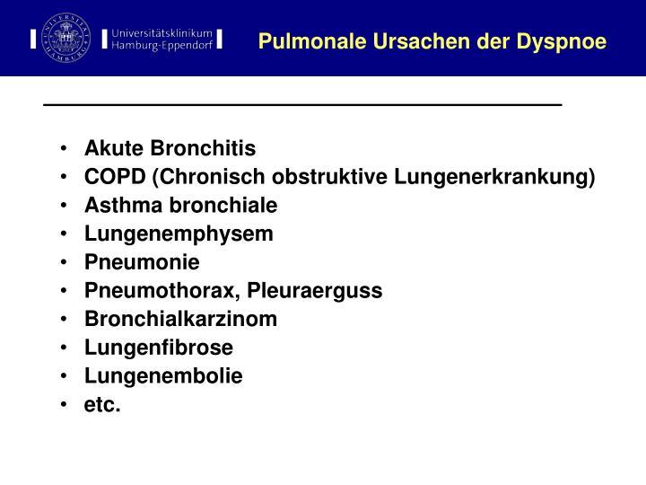Pulmonale Ursachen der Dyspnoe