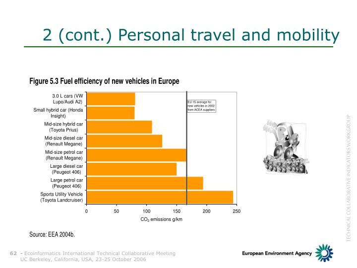 2 (cont.) Personal travel and mobility