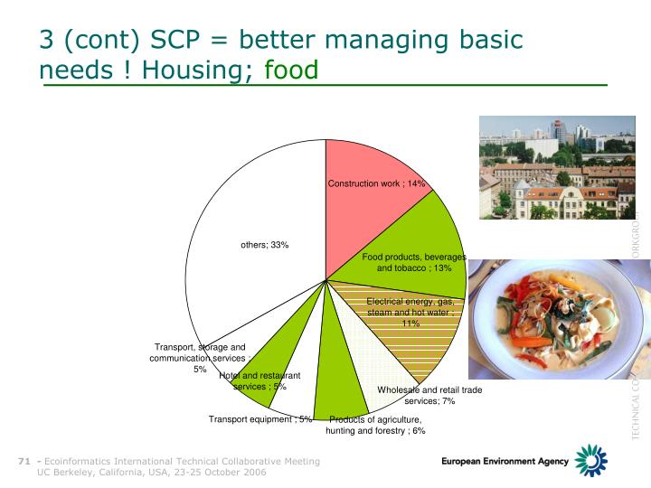 3 (cont) SCP = better managing basic needs ! Housing;
