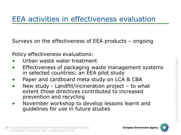 EEA activities in effectiveness evaluation
