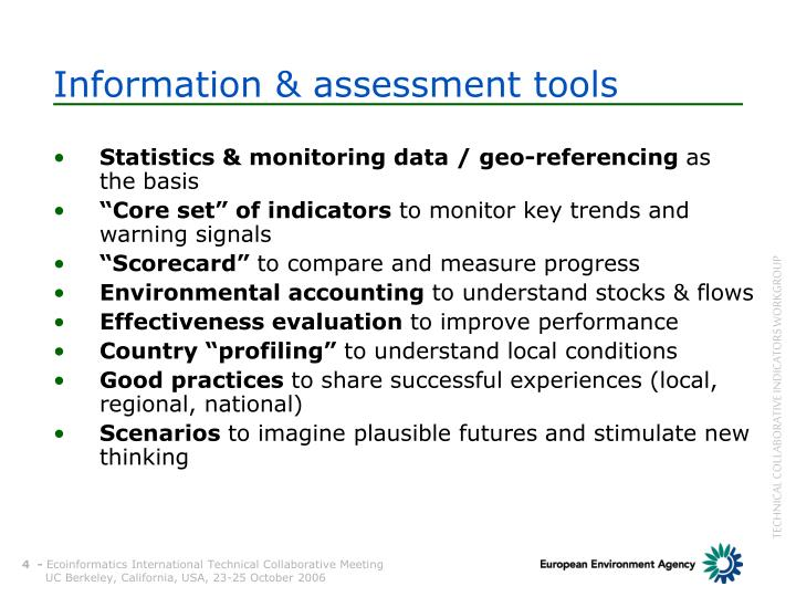Information & assessment tools