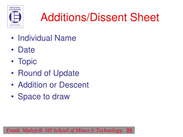 Additions/Dissent Sheet