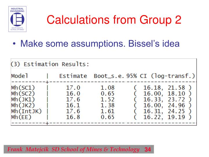 Calculations from Group 2