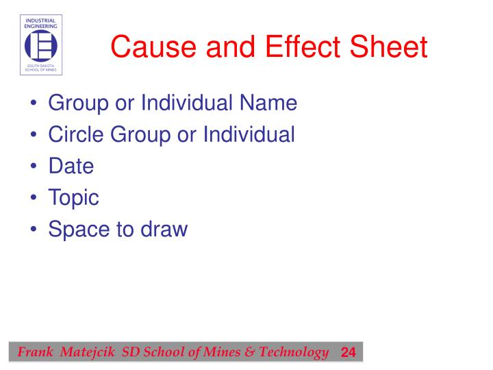 Cause and Effect Sheet