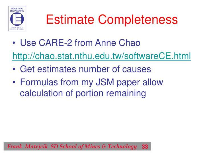 Estimate Completeness