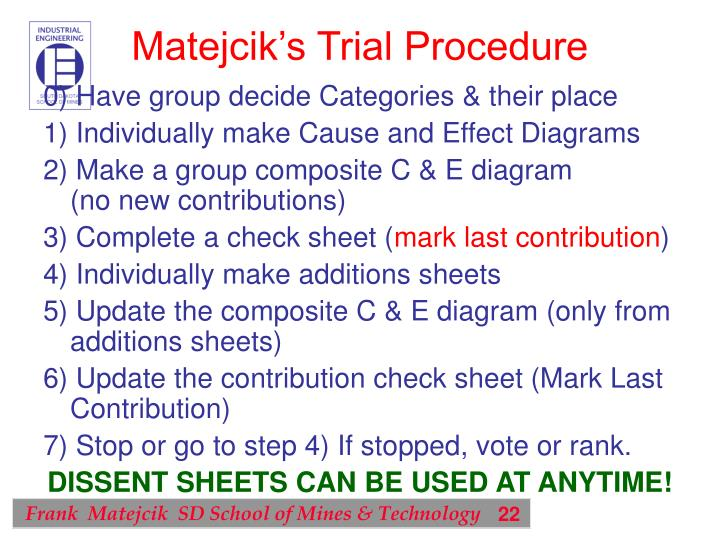Matejcik's Trial Procedure