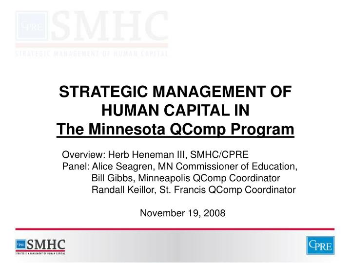Strategic management of human capital in the minnesota qcomp program