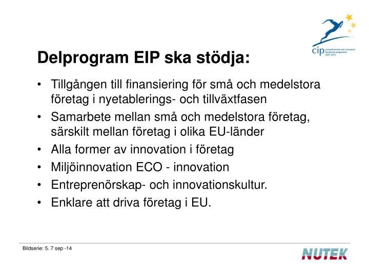 Delprogram EIP ska stödja:
